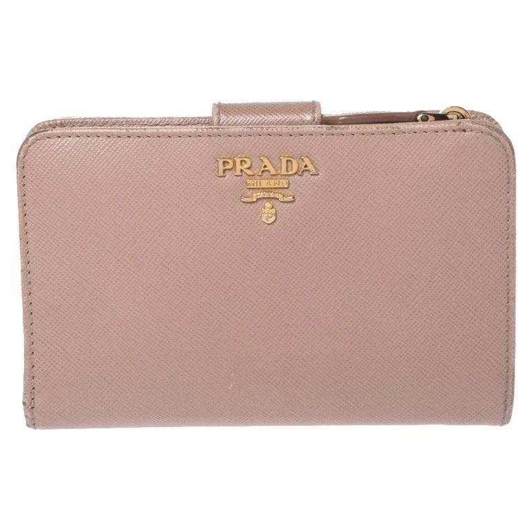 Prada Beige Saffiano Lux Leather Zip Around Compact Wallet For Sale