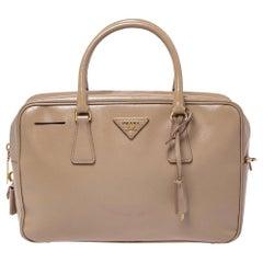 Prada Beige Saffiano Patent Leather Bauletto Bag