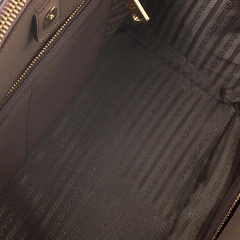 Prada Beige Saffiano Patent Leather Double Zip Spazzolato Tote For Sale 6