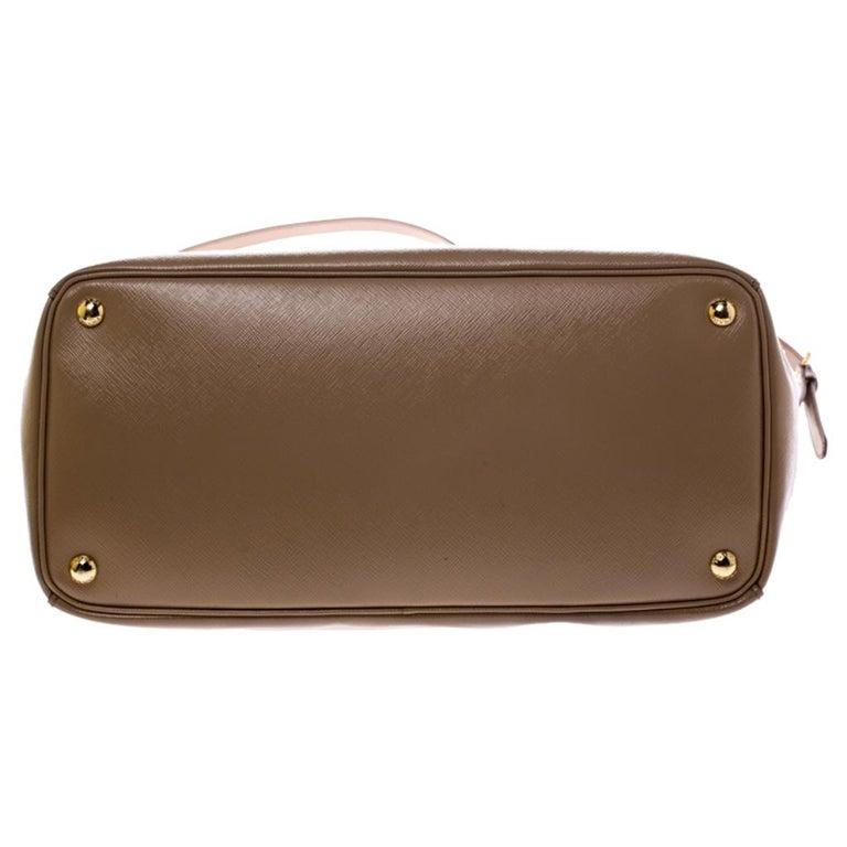 Prada Beige Saffiano Patent Leather Double Zip Spazzolato Tote For Sale 1