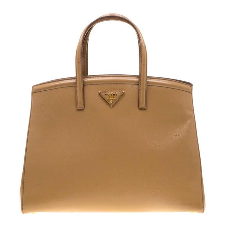 Prada Beige Saffiano Vernice Leather BN2535 Tote For Sale