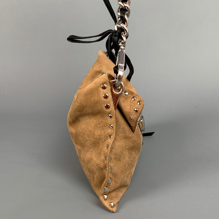 Brown PRADA Beige & Silver Studded Suede Clutch Handbag For Sale