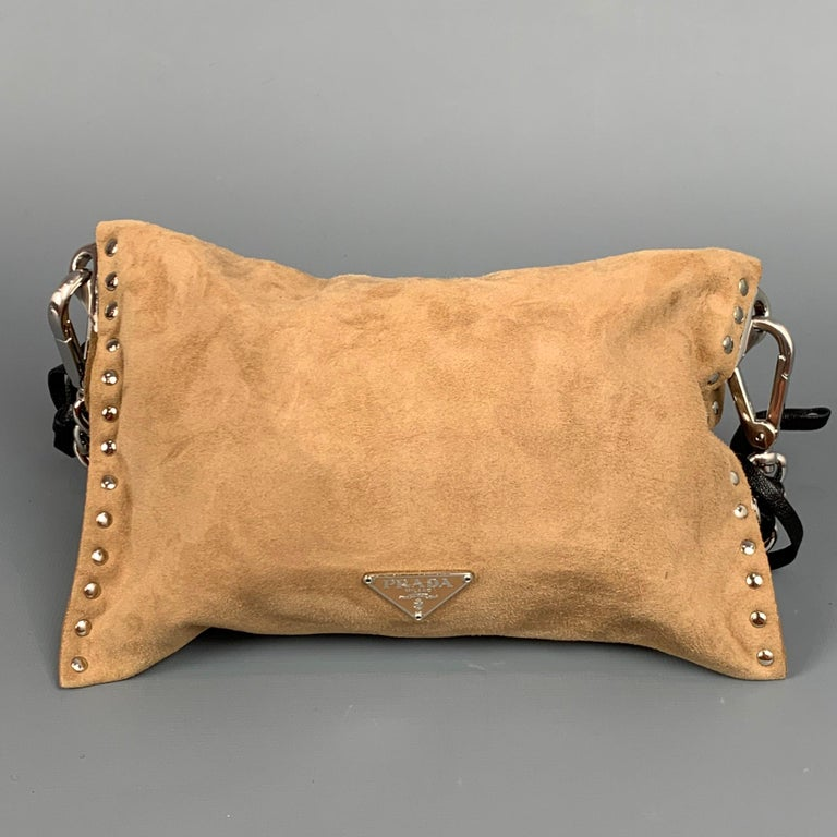 Women's PRADA Beige & Silver Studded Suede Clutch Handbag For Sale