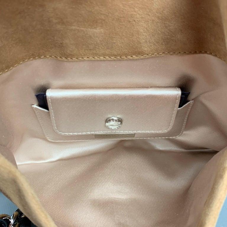 PRADA Beige & Silver Studded Suede Clutch Handbag For Sale 2