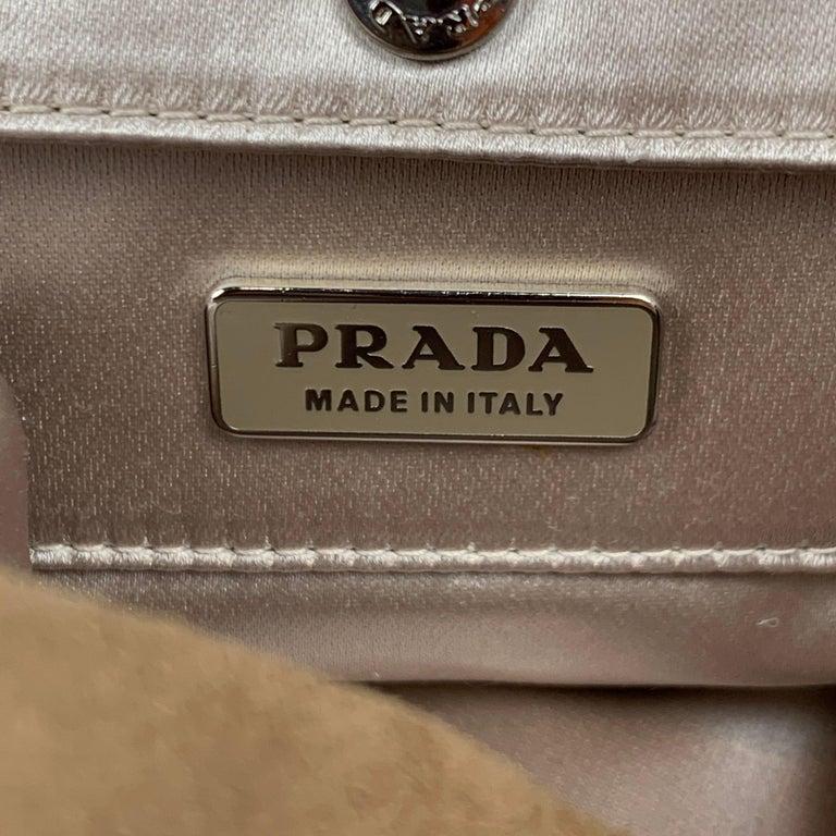 PRADA Beige & Silver Studded Suede Clutch Handbag For Sale 3