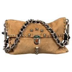 PRADA Beige & Silver Studded Suede Clutch Handbag