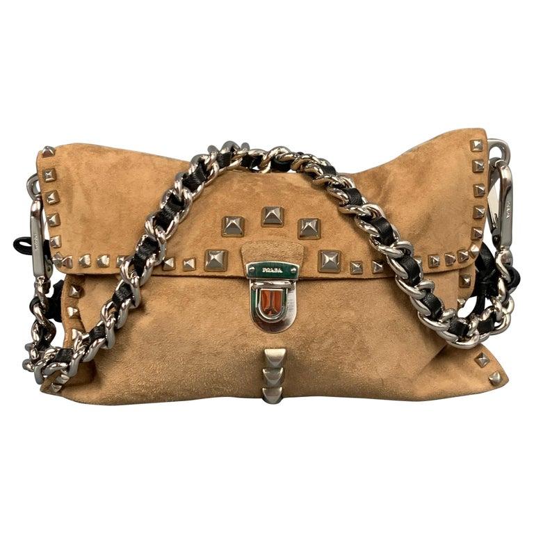 PRADA Beige & Silver Studded Suede Clutch Handbag For Sale
