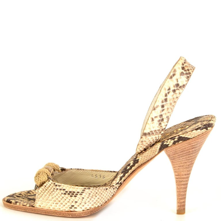 Beige PRADA beige Snakeskin ROPE DETAIL Slingback Sandals Shoes 36 For Sale