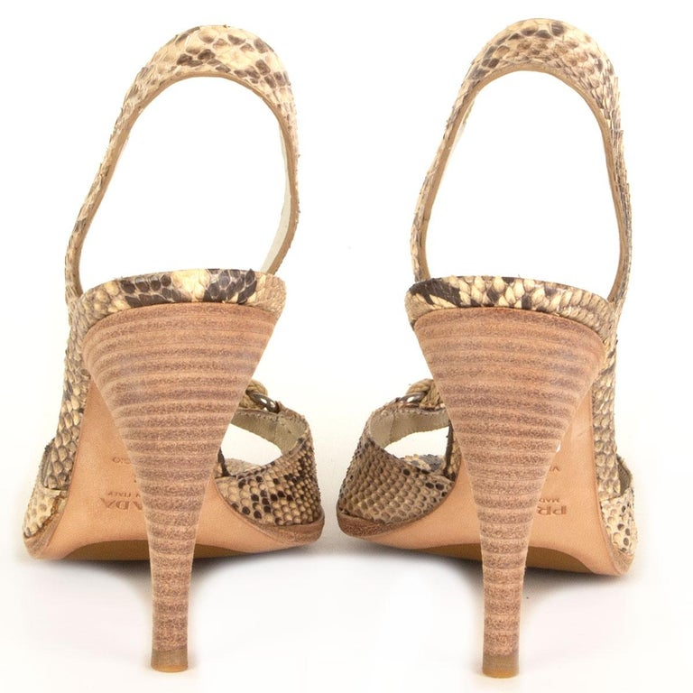 PRADA beige Snakeskin ROPE DETAIL Slingback Sandals Shoes 36 In New Condition For Sale In Zürich, CH
