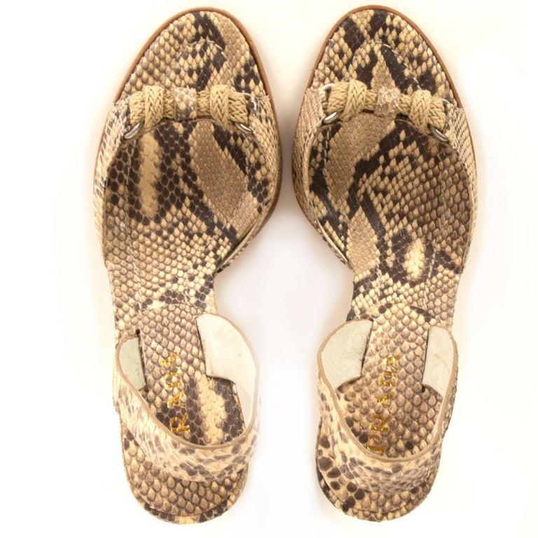 Women's PRADA beige Snakeskin ROPE DETAIL Slingback Sandals Shoes 36 For Sale