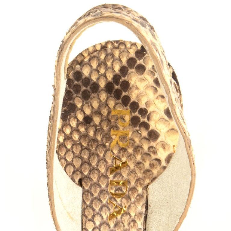 PRADA beige Snakeskin ROPE DETAIL Slingback Sandals Shoes 36 For Sale 1