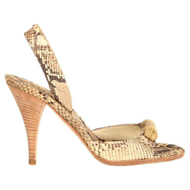 PRADA beige Snakeskin ROPE DETAIL Slingback Sandals Shoes 36 For Sale
