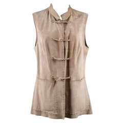 Prada Beige Suede Sleeveless Jacket Gilet Vest with Toggles Size 40