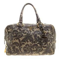 Prada Beige Talco Lace Print Cervo Leather Bowling Bag