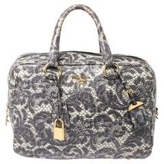 Prada Beige Talco Lace Print Leather Cervo Bowling Bag