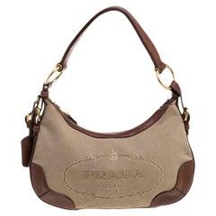 Prada Beige/Tan Logo Jacquard Canvas and Leather Hobo
