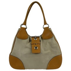 Prada Beige Tan Tessuto Canvas and Leather Buckle Hobo Bag