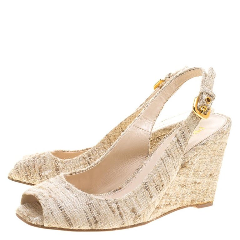 Women's Prada Beige Tweed Fabric Peep Toe Slingback Wedge Sandals Size 40 For Sale
