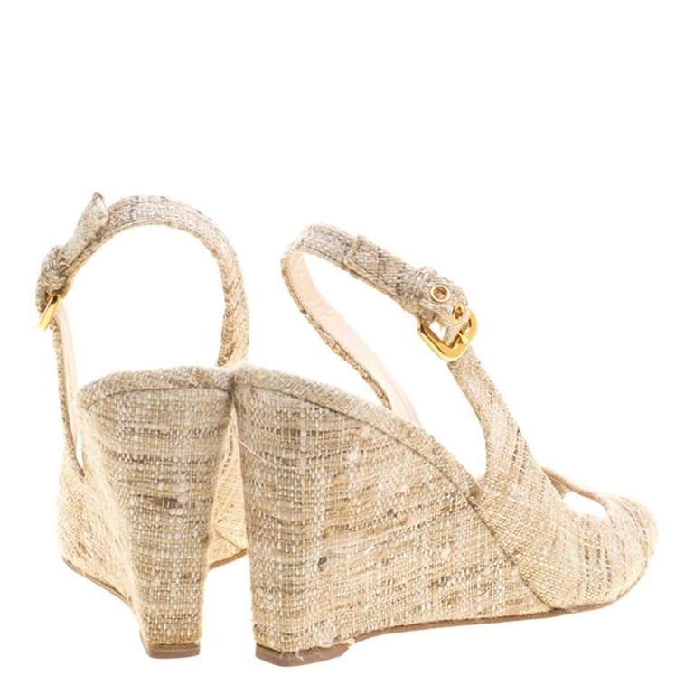 Prada Beige Tweed Fabric Peep Toe Slingback Wedge Sandals Size 40 For Sale 1