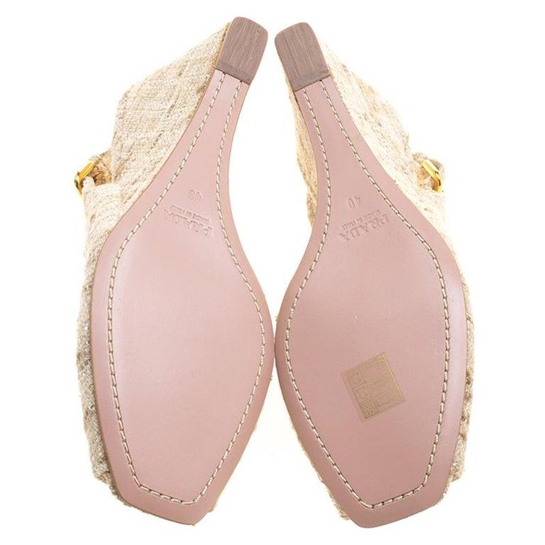 Prada Beige Tweed Fabric Peep Toe Slingback Wedge Sandals Size 40 For Sale 2