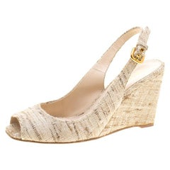 Prada Beige Tweed Fabric Peep Toe Slingback Wedge Sandals Size 40