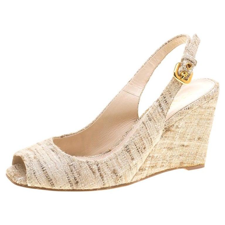 Prada Beige Tweed Fabric Peep Toe Slingback Wedge Sandals Size 40 For Sale