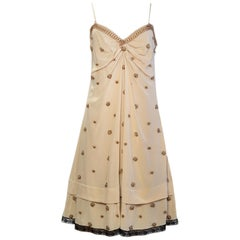 Prada Beige V-Neck Slip Dress w/ Bronze Beading sz 46