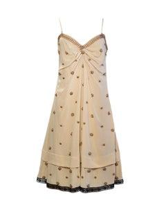 Prada Beige V-Neck Slip Dress w/ Bronze Beading sz 46
