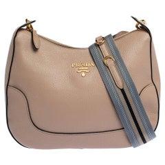 Prada Beige Vitello Phenix Leather Shoulder Bag