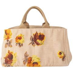 PRADA beige & yellow FLORAL canvas CANAPA Tote Bag