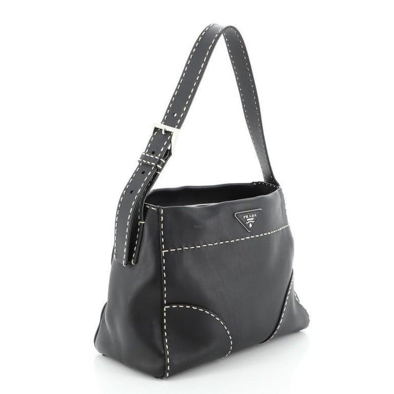 Prada Belted Hobo Stitched City Calf Medium In Good Condition For Sale In New York, NY