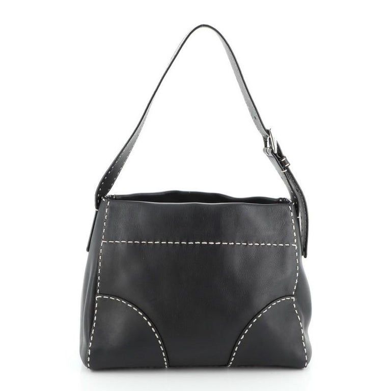 Women's or Men's Prada Belted Hobo Stitched City Calf Medium For Sale