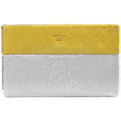 PRADA Bi-Color Yellow Gold Silver Dual Tone Sequin Paillettes Clutch Pouch Purse