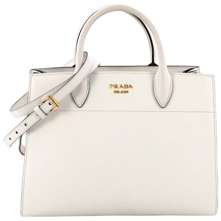 35ac79a36489 Prada Bibliotheque Handbag Saffiano Leather with City Calfskin Medium For  Sale