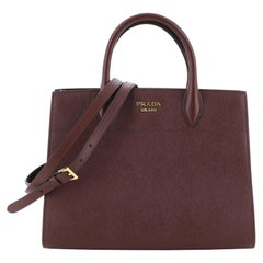 Prada Bibliotheque Handbag Saffiano Leather with City Calfskin Medium