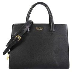 Prada Bibliotheque Handbag Saffiano Leather with City Calfskin Small