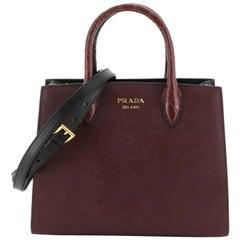 Prada Bibliotheque Handbag Saffiano Leather with Crocodile Small