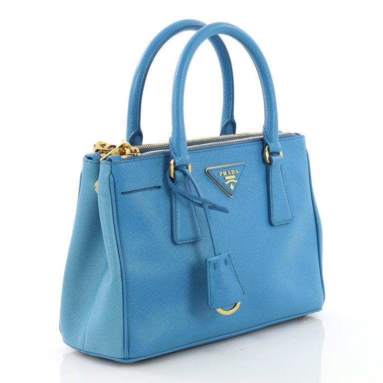 3fa34ac54414 Blue Prada Bicolor Double Zip Lux Tote Saffiano Leather Mini For Sale