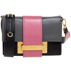 Prada Bicolor Leather Ribbon Flap Crossbody Bag