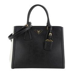 Prada Bicolor Lux Convertible Open Tote Saffiano Leather Medium