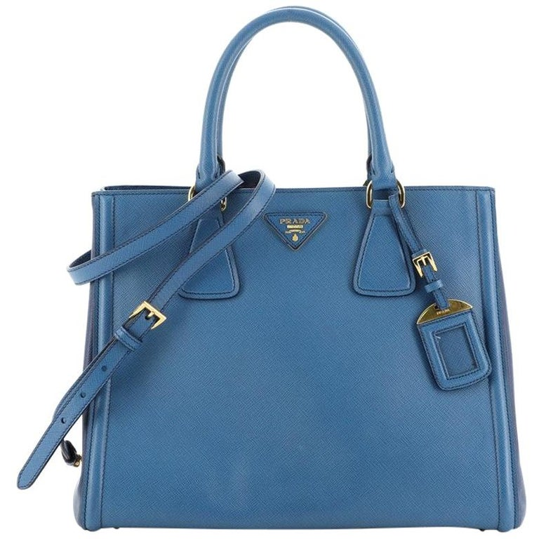 Prada Bicolor Lux Convertible Open Tote Saffiano Leather Medium For Sale