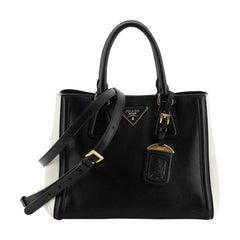 Prada Bicolor Lux Convertible Open Tote Saffiano Leather Small