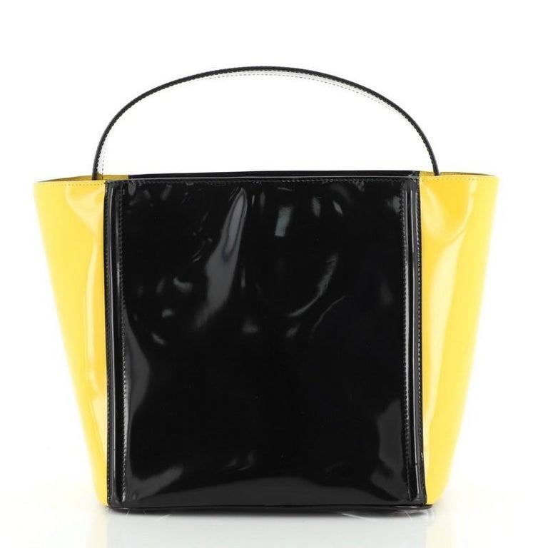 Prada Bicolor Top Handle Tote Spazzolato Leather Small In Good Condition For Sale In New York, NY