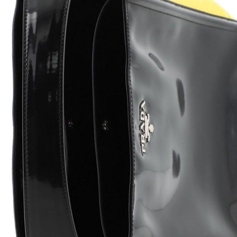 Prada Bicolor Top Handle Tote Spazzolato Leather Small For Sale 3