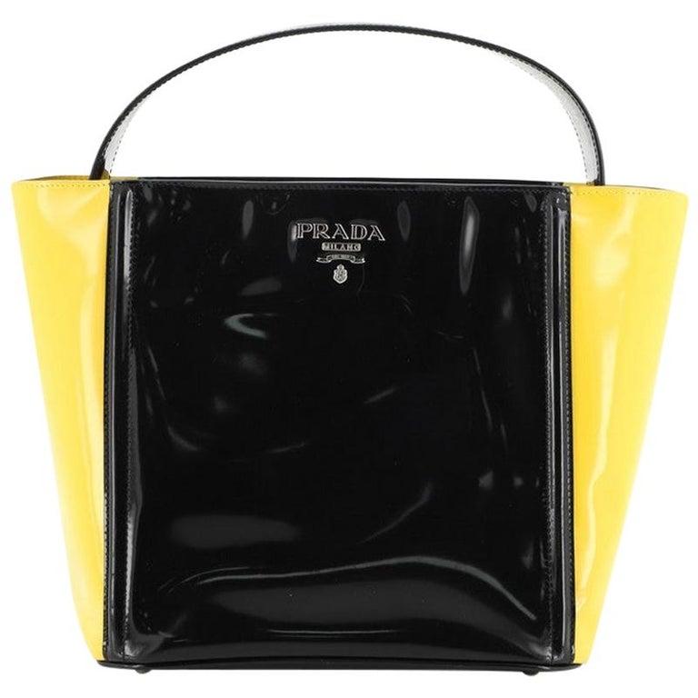 Prada Bicolor Top Handle Tote Spazzolato Leather Small For Sale