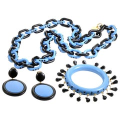 Prada Black and Blue Resin Costume Jewelry Set