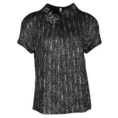Prada Black and Grey Textured Wool Embellished High Neck Short Sleeve Top L