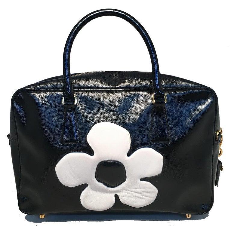 3c9ce4f531a4b2 Prada Black and White Patent Saffiano Galleria Flower Bag In Excellent  Condition For Sale In Philadelphia