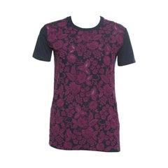 Prada Black and Wine Floral Lace Applique Detail Cotton Crew Neck T Shirt XS