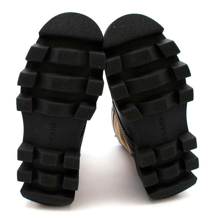Prada Black & Beige Leather & Nylon Logo Combat Boots - Size EU 41.5 For Sale 6